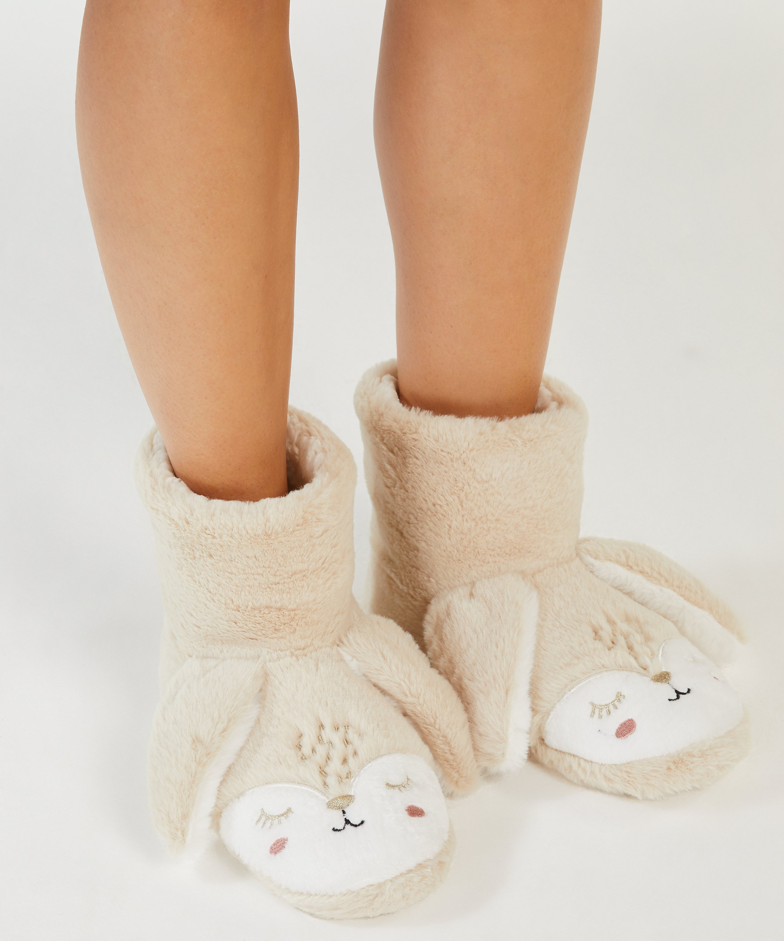 Chaussons Lapin, Beige, main