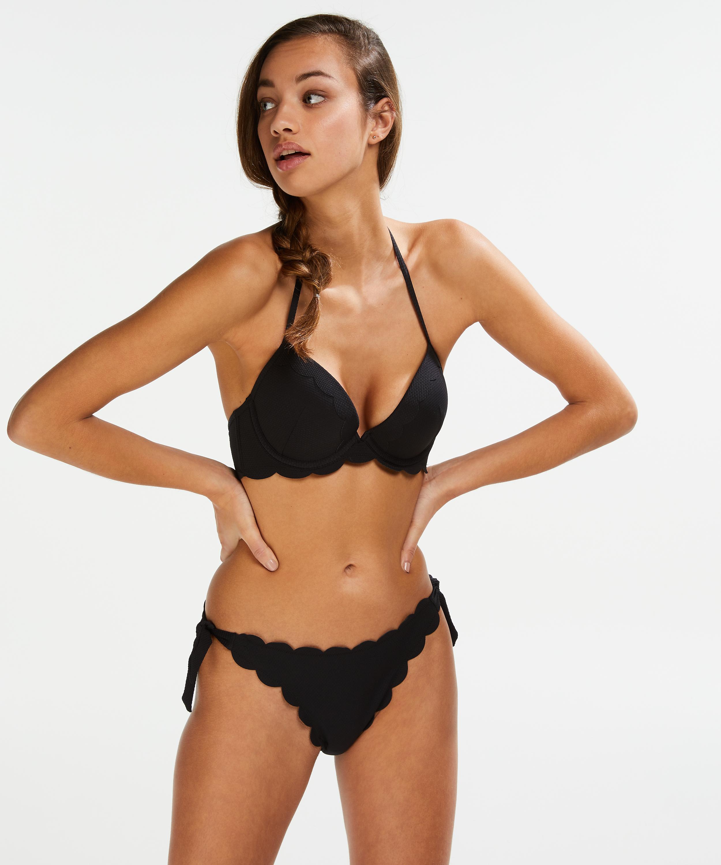 Voorgevormde push-up beugel bikinitop Scallop Cup A - E, Zwart, main