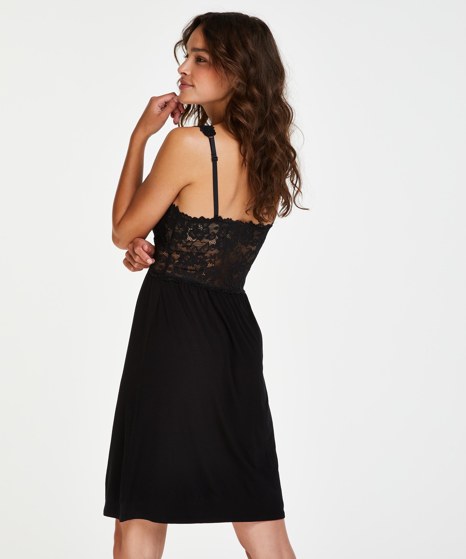 Slipdress Modal lace, Zwart, main