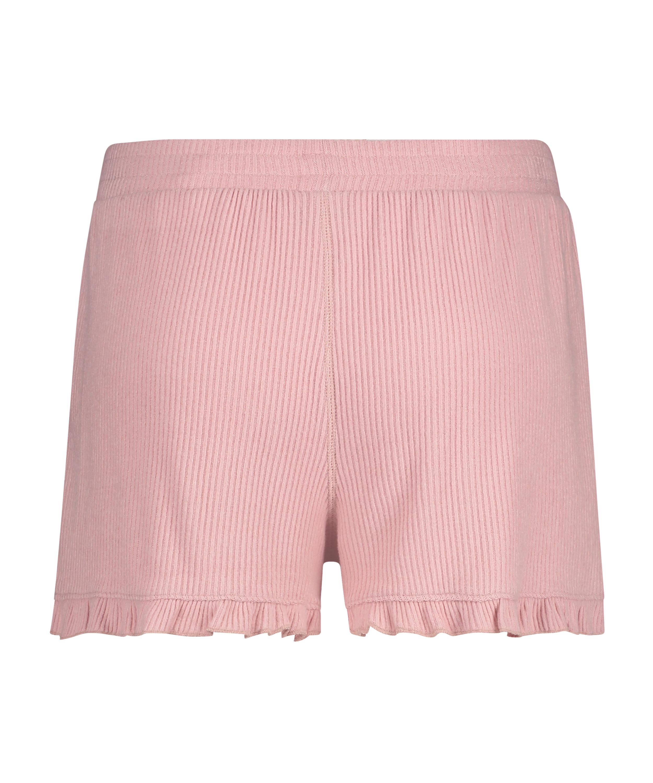 Shorts Brushed Rib Lace, Roze, main