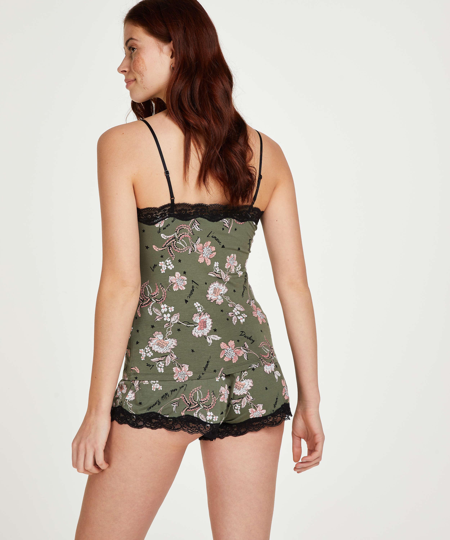 Korte pyjama set Flower Words, Groen, main