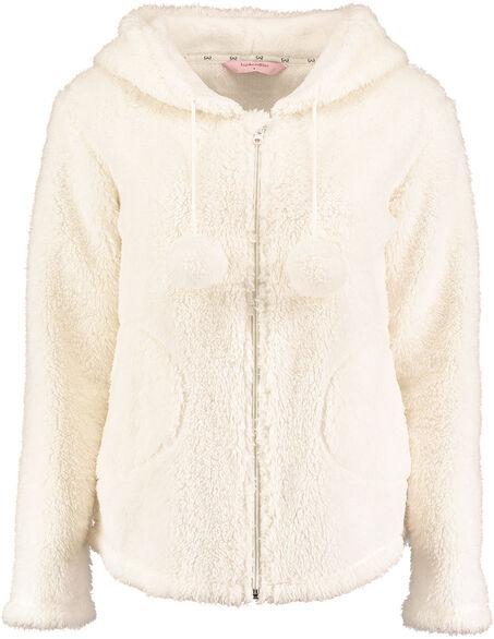 Jacket Ressy cardigown fleece, Wit