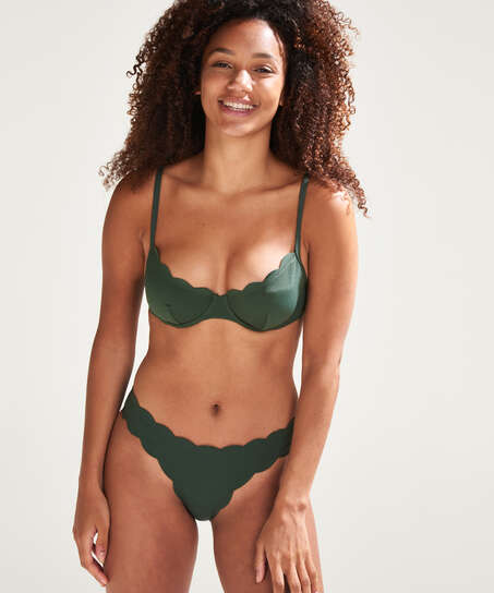 Laag rio bikinibroekje Scallop Glam, Groen