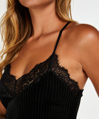 Cami Velours Rib Lace, Groen
