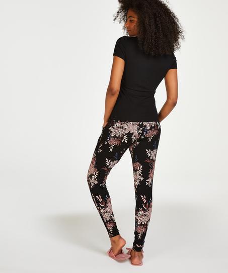 Pyjama top korte mouwen rib, Zwart