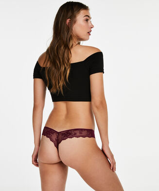 String Invisible Lace back, Pourpre