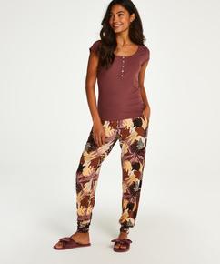Pantalon de pyjama Jersey Abstract Leaf petite taille, Rose