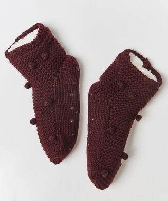 Chaussettes à semelle pom pom, Rouge