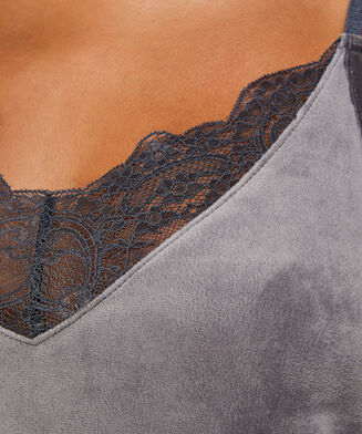 Top Velours Lace, Gris