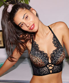 Soutien-gorge push-up à armatures rembourré Roxy Empreinte d'animal, Noir