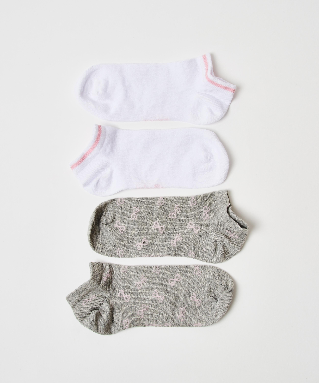 2 paar katoenen sokken trainerliners, Grijs, main