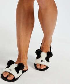 Slippers Panda, Zwart
