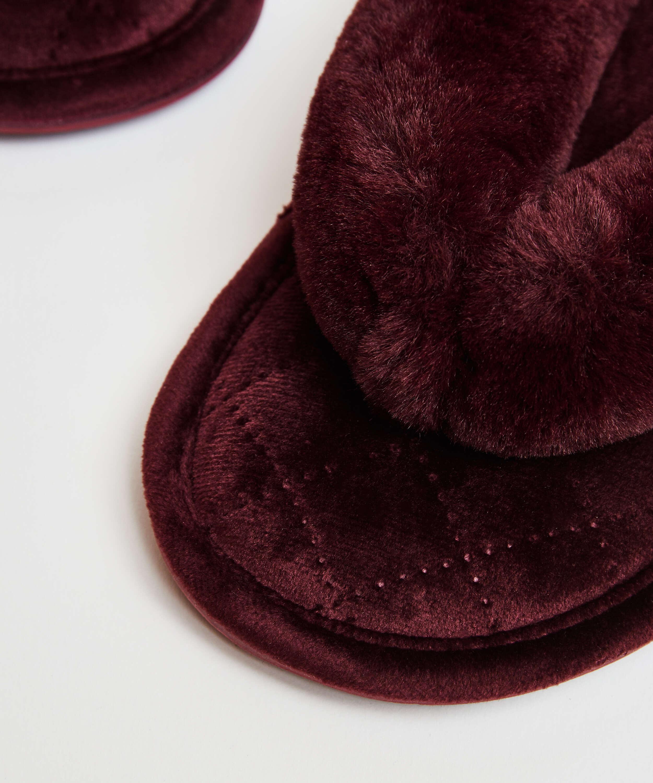 Slippers Velours fur, Rood, main