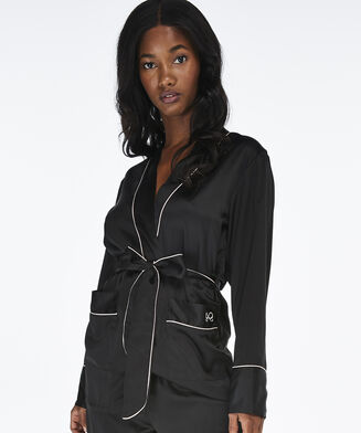 Haut de pyjama Satin, Noir