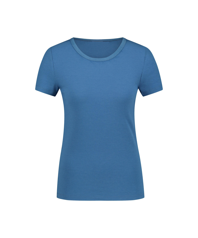 Pyjama top korte mouwen rib, Blauw, main