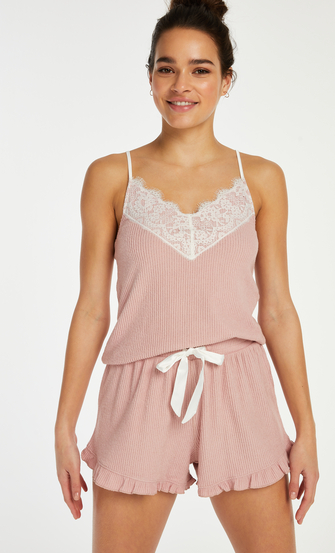 Cami top Brushed Rib Lace, Roze
