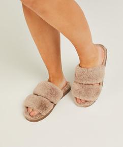 Pantoufles Fake Fur, Brun