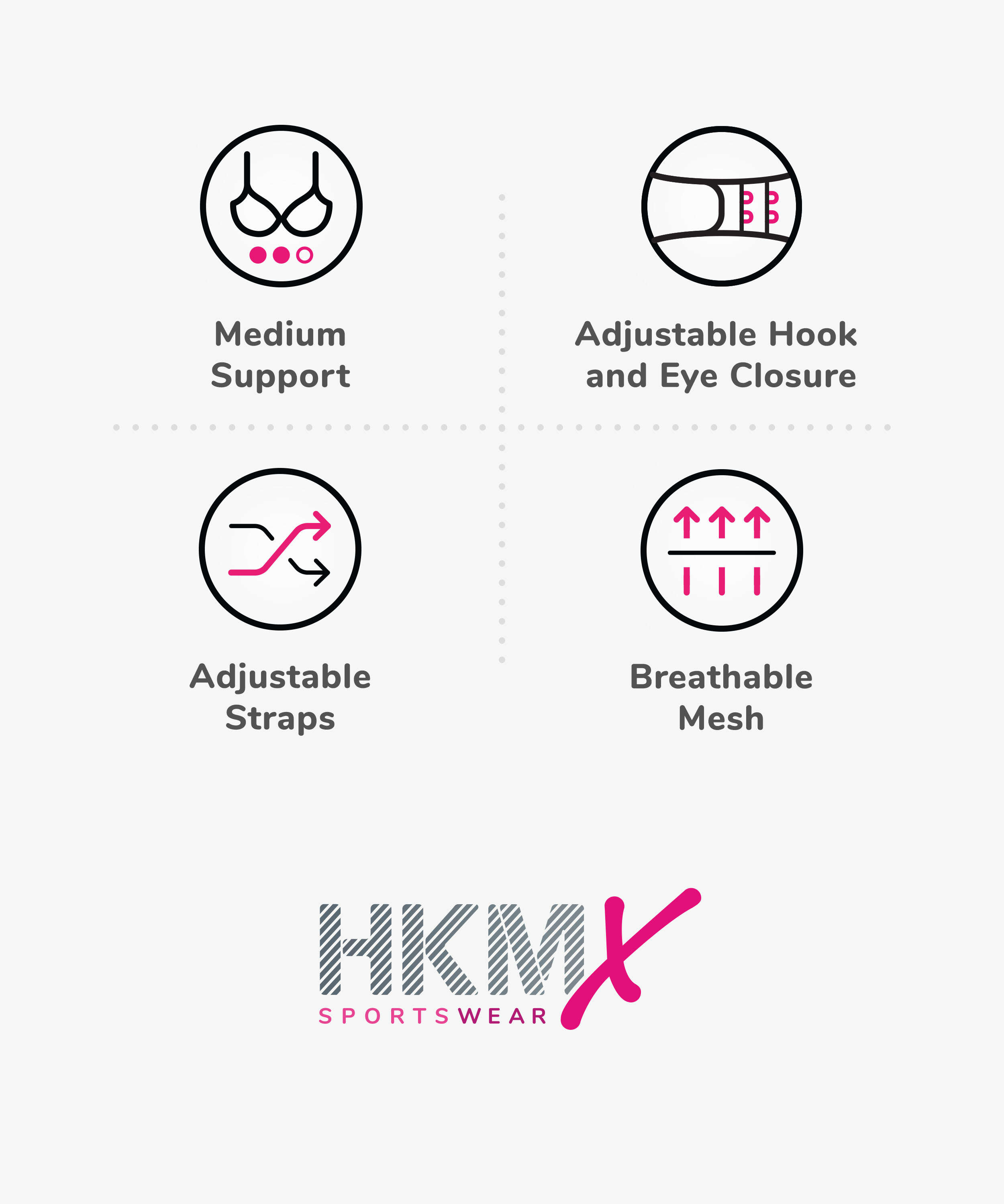 HKMX Sport bh The All Star Level 2, Grijs, main