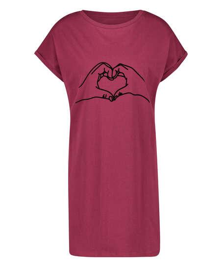 Chemise de nuit à encolure arrondie, Rouge