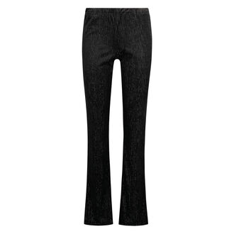 Flared Legging Velours Rib, Zwart