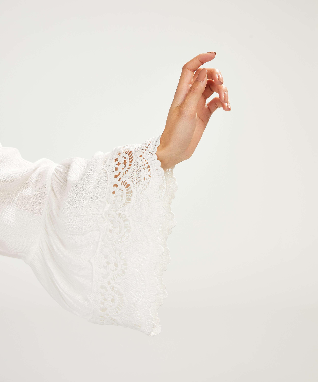 Tunique Lace Trim, Blanc, main