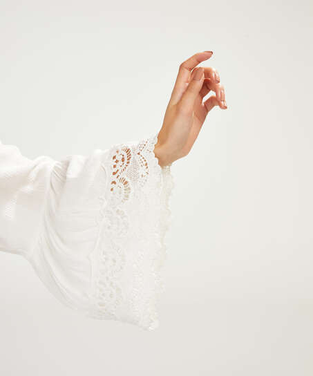 Tunique Lace Trim, Blanc