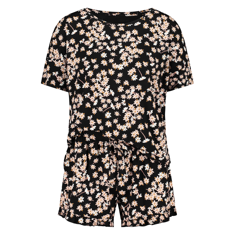 Korte pyjama set, Zwart, main