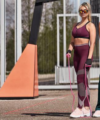 HKMX hoge sportlegging roundknit, Paars