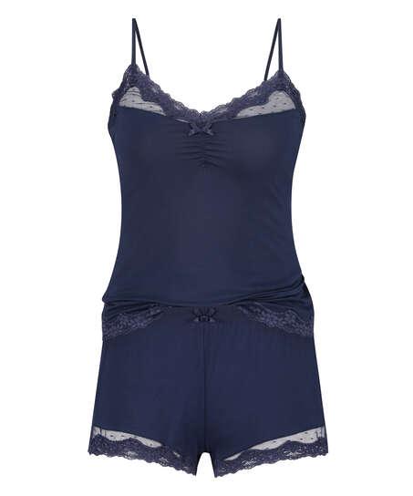 Korte pyjama set, Blauw