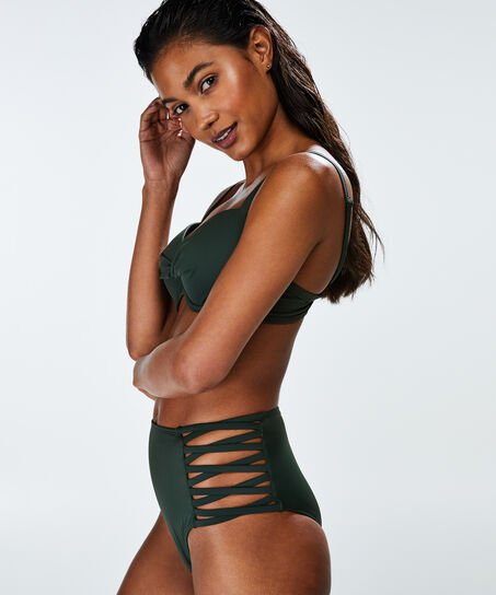 Slip de bikini taille haute Cheeky Sunset dream, Vert
