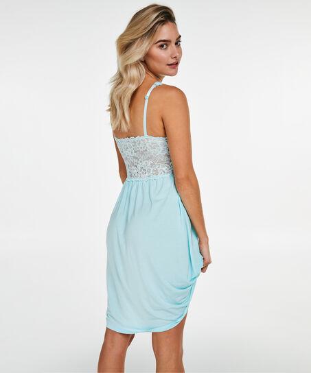 Slipdress Modal lace, Blauw