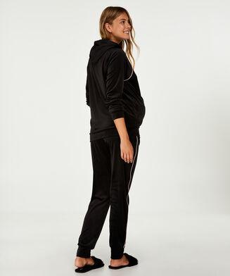 Zwangerschapshoodie velours, Zwart