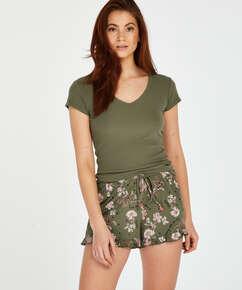 Pyjama top korte mouwen rib, Groen