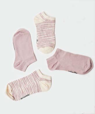 2 paar katoenen sokken trainerliners, Paars