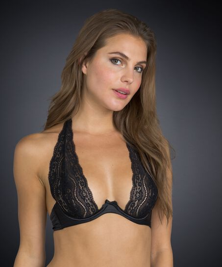 Non-padded underwired bra Jade lace, Noir