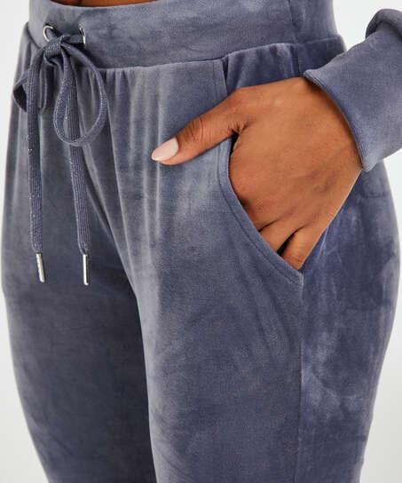 Tall joggingbroek Velours Shimmer Tape, Grijs
