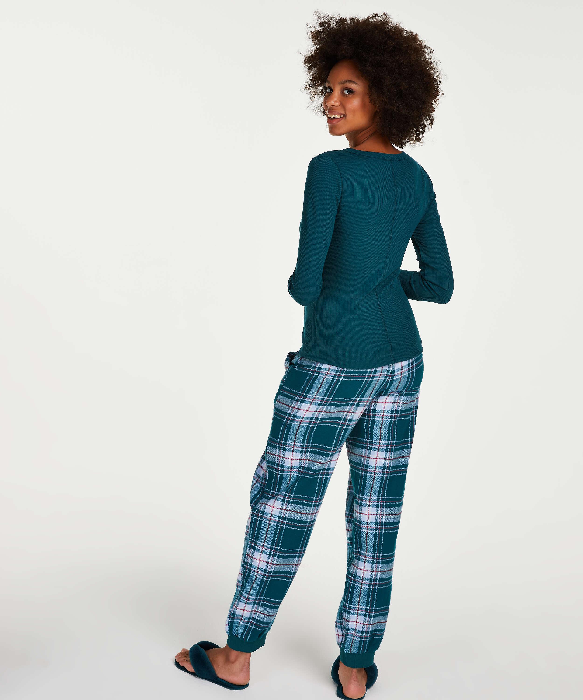 Pyjamatop lange mouwen, Blauw, main