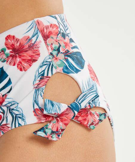 Bas de bikini échancré taille haute Vintage, Blanc