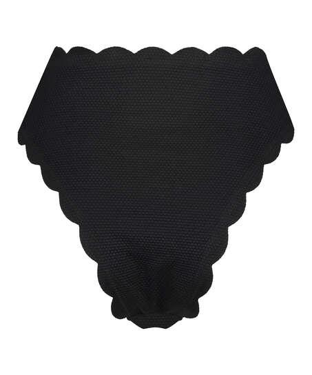 Hoog highleg bikinibroekje Scallop Glam, Zwart