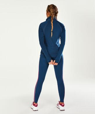 Top de sport HKMX manches longues col montant, Bleu