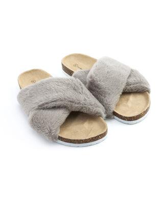 Pantoufles Fur Cross, Gris