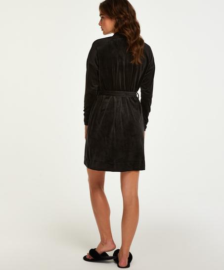 Peignoir Velvet, Noir