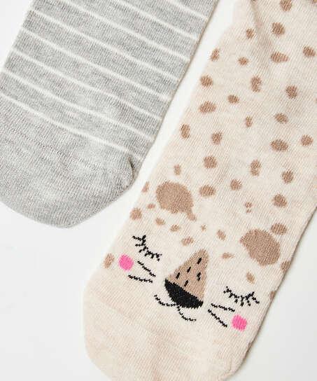 2 paar Katoenen Sokken, Beige