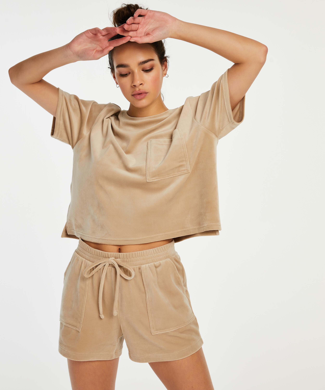 Short Velours Pocket, Beige, main