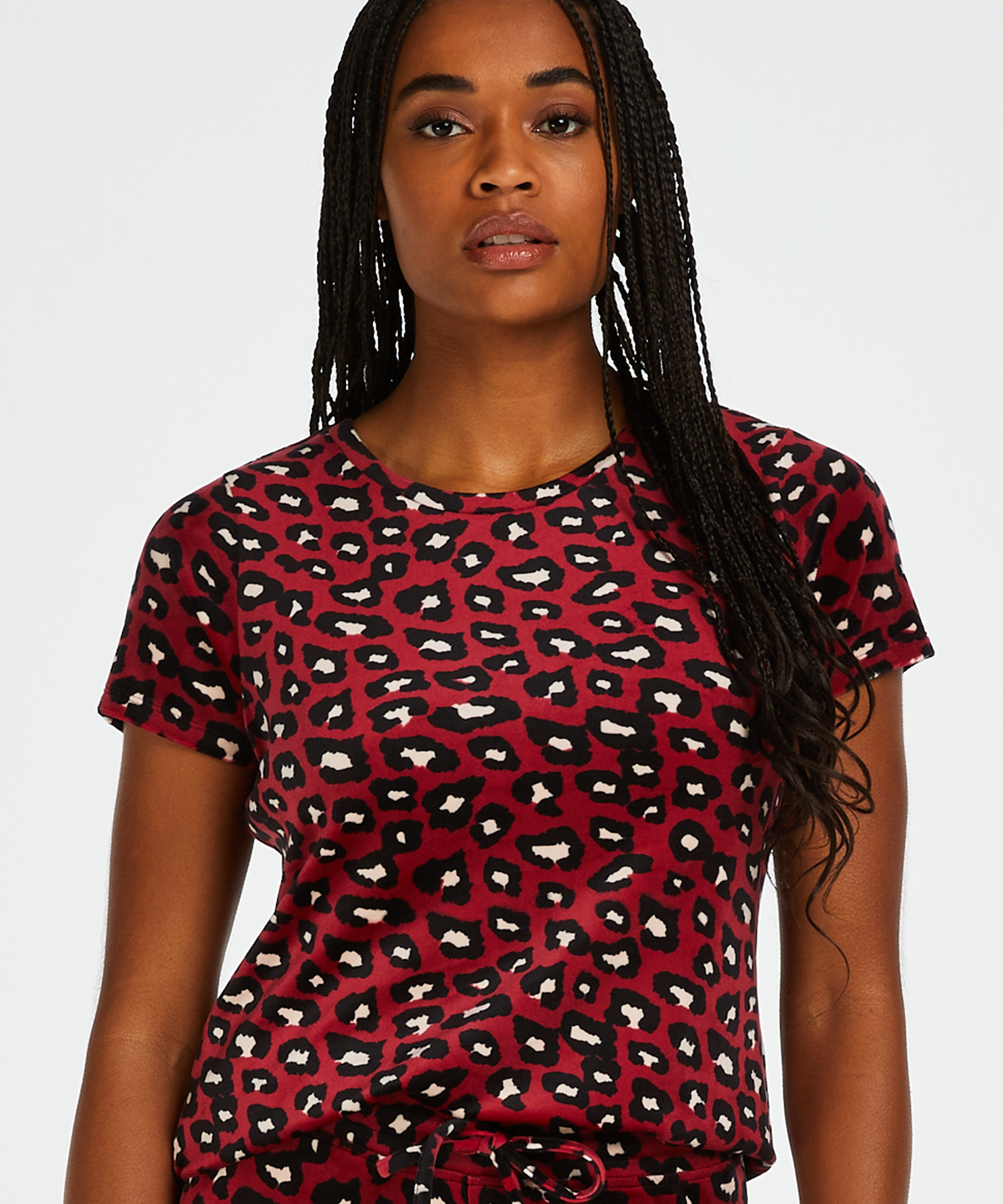 Top Velours, Rouge, main