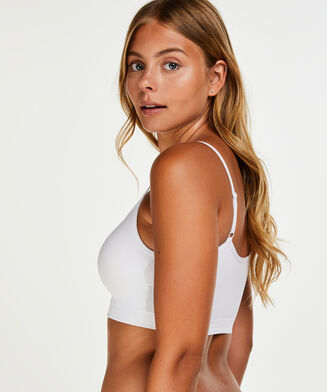 Naadloze strappy top, Wit