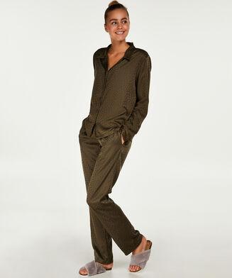 Pyjamatop Satin Jacquard, Groen