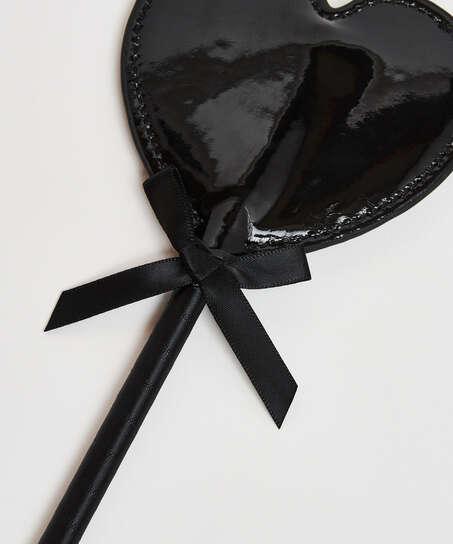 Private zweep Lerenlook, Zwart