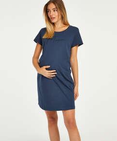 T-shirt de nuit grossesse à manches courtes, Bleu
