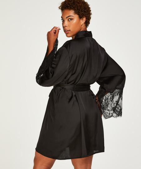 Kimono Lace Satin, Noir